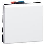 077041 - Выключатель кнопочный перекидной, 2-модульный, Legrand Mosaic, 6А (белый)