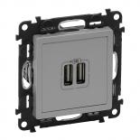 753612 - Розетка USB, зарядное устройство Легранд Валена Лайф (алюминий)