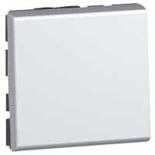 079240 - Выключатель кнопочный 2-модульный, Legrand Mosaic, 6А (алюминий)