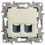 672354 - Розетка интернет RJ-45 двойная, категория 6, UTP, Legrand Etika (слоновая кость)