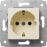 773721 - Розетка электрическая с заземлением, немецкий стандарт, со шторками, Легранд Карива (слоновая кость)