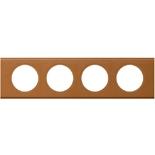 069424 - Рамка 4-постовая Legrand Celiane, прямоугольная, 313х83мм, кожа (карамель)
