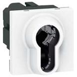 077074 - Выключатель с ключом, 2-позиционный, 2-модульный, цилиндр евростандарта, Legrand Mosaic, 6А (белый)