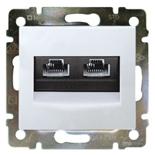 774239 - Розетка двойная Ethernet Rj45, 5е UTP на винтах, Legrand Valena (белая)