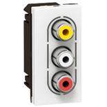 078754 - Розетка видео + аудио (стерео), 3 RCA, 1-модульная, Legrand Mosaic (белая)