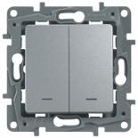 672404 - Выключатель Legrand Etika двухклавишный с подсветкой/индикацией (алюминий)
