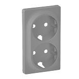 754952 - Лицевая панель для двойной силовой розетки 2х2К+З Legrand Valena Life (алюминий)