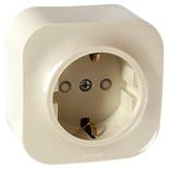 782250 - Розетка электрическая с заземлением и защитными шторками Legrand Quteo (слоновая кость)