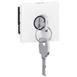 076630 - Выключатель с ключом для светильников BAES, 2-модульный, Legrand Mosaic (белый)