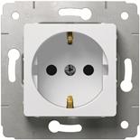 773621 - Розетка электрическая с заземлением, немецкий стандарт, со шторками, Legrand Cariva (белая)