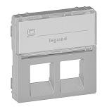 755482 - Лицевая панель для двойных телефонных/информационных розеток с держателем маркировки Legrand Valena Life (алюминий)