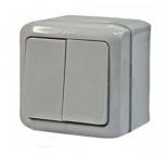 782332 - Выключатель двухклавишный влагозащищенный (IP 44) Легран Кьютео (серый)