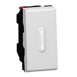 079232 + 067666 - Выключатель кнопочный перекидной с подсветкой, 1-модульный, Legrand Mosaic, 6А (алюминий)