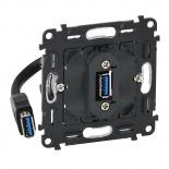 753082 - Механизм розетки USB 3.0 с подключенным кабелем 15см и разьемом Legrand Valena INMATIC