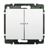 771079 + 775608  - Переключатель проходной двухклавишный с подсветкой Legrand Galea Life, 10А (белый)