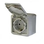 782351 - Розетка электрическая с заземлением с крышкой Legrand Quteo (IP-44) полугерметичная (серая)