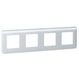 079008 - Рамка Легранд Мозаик, 4-постовая на 8 модулей, горизонтальная (алюминий)