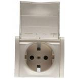 771422 - Лицевая панель для электрической розетки Legrand Galea Life с заземлением, с крышкой и защитными шторками, немецкий стандарт, титан
