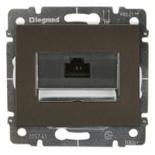 771275 + 775765 - Розетка Ethernet (интернет) RJ45 одинарная, 5e-категория Legrand Galea Life (темная бронза), на захватах