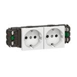077402 - Розетка двойная с заземлением, для кабель-каналов DLP, Legrand Mosaic (белая)