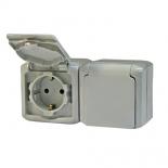782353 - Розетка электрическая с заземлением с крышкой двойная Легранд Кутео (IP-44) полугерметичная (серая)