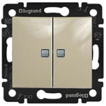 774112 - Выключатель двухклавишный Легранд Валена, проходной c подсветкой (слоновая кость)