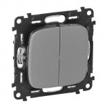 752005 + 755027 - Выключатель двухклавишный простой, автоматические клеммы Legrand Valena Allure (алюминий)
