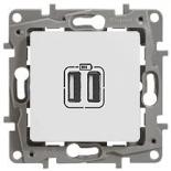 672294 - Зарядное устройство USB с двумя разъёмами, 240/5В, 2400мА, Legrand Etika (белое)