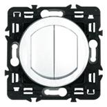 067802 + 067001 (2шт.) + 080251 - Выключатель-переключатель двухклавишный, влагозащищенный (ip44) Legrand Celiane, 10А (Белый)