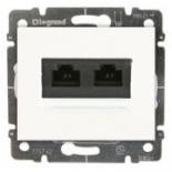 775823 + 777075 - Розетка Ethernet (интернет) RJ45 двойная, 6-категория, Legrand Galea Life (Белый)