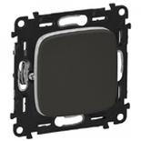 752011 + 755113 - Выключатель кнопочный 6A Legrand Valena Allure (темная нержавеющая сталь)