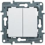 672212 - Выключатель (переключатель) двухклавишный Legrand Etika Plus (белый)
