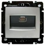 770246 - Розетка одинарная Ethernet Rj45 с захватами, 6 UTP, Легран Валена (алюминий)