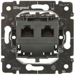 775762 - Механизм розетки компьютерной (интернет, ethernet) - RJ 45, категория 5e, UTP, 2 коннектора, монтаж на винтах, Legrand Galea Life