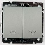 775814 + 771314 - Выключатель кнопочный для управления жалюзи/рольставнями, Legrand Galea Life (алюминий)