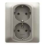 771330 - Розетка электрическая двойная с заземлением, Легранд Галеа Лайф, винтовые клеммы, 16А (алюминий)