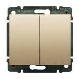 771412 + 775805 - Выключатель двухклавишный простой Легранд Галея Лайф, 10А (титан)