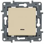 672315 - Выключатель (переключатель) одноклавишный с подсветкой Легранд Этика Плюс (слоновая кость)