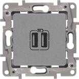 672494 - Зарядное устройство USB с двумя гнёздами, 240/5В, 2400мА, Легранд Этика (алюминий)