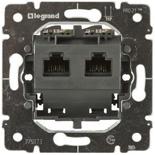 775823 - Механизм розетки компьютерной (интернет, ethernet) - RJ 45, категория 6, UTP, 2 коннектора, монтаж на захватах, Legrand Galea Life