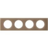 069464 - Рамка 4-постовая Legrand Celiane, прямоугольная, 314х84мм, стекло (смальта мокка)