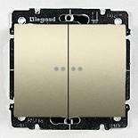 771479 + 775608 - Переключатель проходной двухклавишный с подсветкой Legrand Galea Life, 10А (Титан)