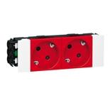 077412 - Розетка двойная с заземлением и механической блокировкой, для кабель-каналов DLP, Legrand Mosaic (красная)
