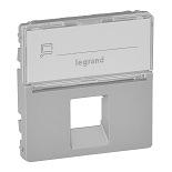 755472 - Лицевая панель для одиночных телефонных/информационных розеток с держателем маркировки Legrand Valena Life (алюминий)