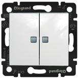 774212 - Выключатель двухклавишный Legrand Valena, проходной c подсветкой (белый)