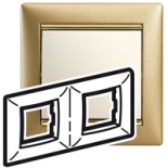 770302 - Рамка 2 поста Legrand Valena (Матовое золото)