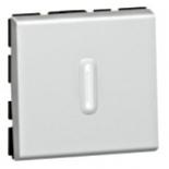 079242 + 067666 - Выключатель кнопочный перекидной с подсветкой, 2-модульный, Legrand Mosaic, 6А (алюминий)
