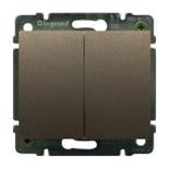 771212 + 775805 - Выключатель двухклавишный простой Легран галеа лайф, 10А (темная бронза)