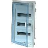 001423 - Щит встраиваемый, 3 рейки, 36+6М, Legrand Nedbox (синяя полупрозрачная скругленная дверь)