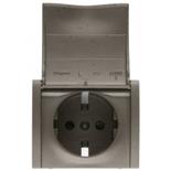 771222 - Лицевая панель для электрической розетки Legrand Galea Life с заземлением, с крышкой и защитными шторками, немецкий стандарт, тёмная бронза